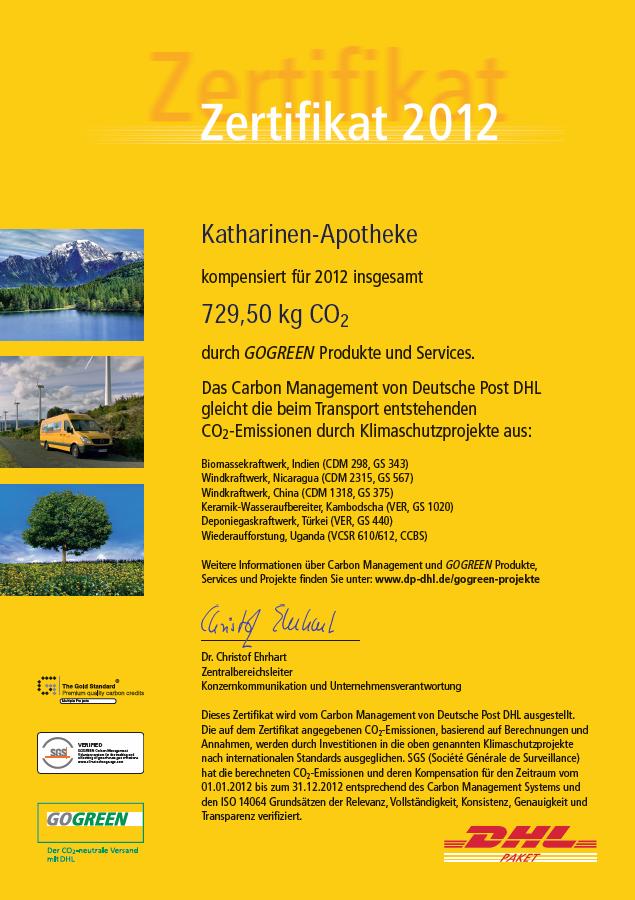 DHL GoGreen-Zertifikat 2012